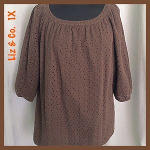 Chocolate Brown Eyelet Blouse by Liz & Co. Size 1X